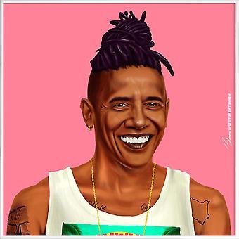 JUNIQE Print -  Obama - Politische Figuren Poster in Braun & Rosa