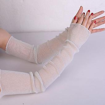 Mujeres verano verano protector solar red de conducción guantes