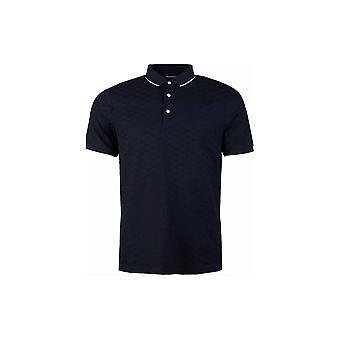 Emporio Armani Cotton All Over Logo Navy Polo Shirt