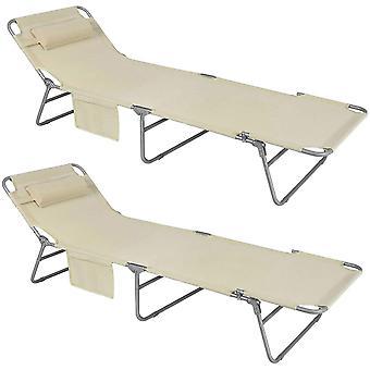SoBuy 2 imposta la sedia da campeggio reclinabile regolabile per il lettino esterno, OGS35-MIx2