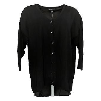 H van Halston Women's 3/4 Sleeve Boyfriend Cardi w/Woven Hem Black A351189