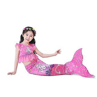 110 Cm rose red 3pcs girls swimsuits mermaid for swimming mermaid x7393
