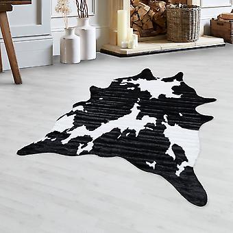 Fend pelliccia di pelle bovina imitazione motivo pelliccia animale lavabile antiscivolo bianco nero
