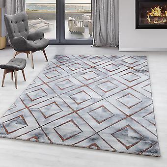 Stue tæppe OXIA kort bunke design mønster Marmoreret sugetablet