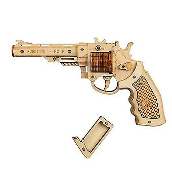 Gun Building Blocks Diy Revolver,scatter With Rubber Band Bullet Wooden Popular Toy Gift For