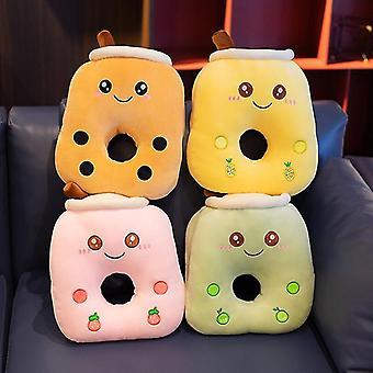 Cute Cartoon Bubble Tea Cup Nap Pillow Plys Legetøj Frugter Drik Udstoppet Pillow Soft Back Cushion