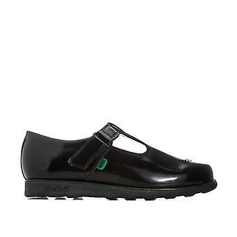 Girl's Kickers Junior Fragma T-Bar Patent Shoes en negro