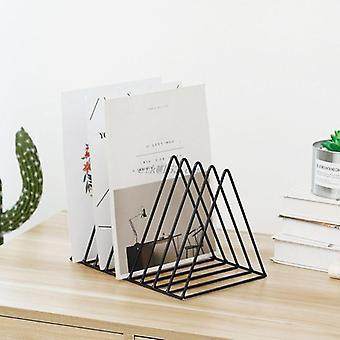 Metal Iron Storage  Record Rack Triangle Shaped Book Magzine Holder Multifunction Desk Record