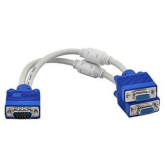 RGB VGA SVGA uros - 2 VGA kaksi HDB15 naisten jakaja sovittimen laajennus Kaapeli w / ydin VGA jakaja