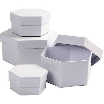 4 blanco papel maché Hexagonal apilar cajas - 11.5x7cm más grande