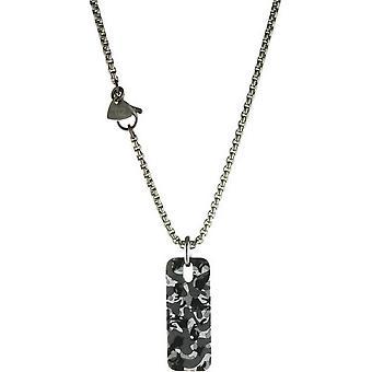Ti2 titaani suorakulmainen naamiointi riipus - hopea/musta/harmaa