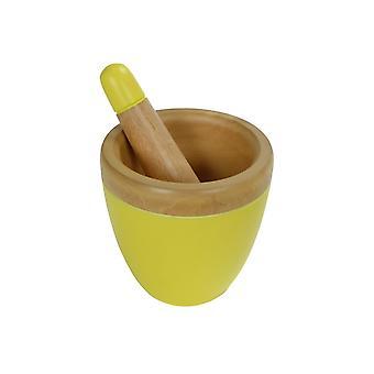 Fine Asianliving Mortar Set/2 Mango Wood Handmade in Thailand Yellow