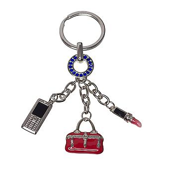 Nektar Bag, Cell-Phone and Lipstick Figured Key Chain, Key Holder, Metal, Silver, Telephone Figured, Bag Figured, Lipstick Figured