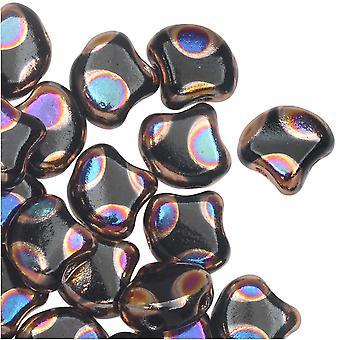 Czech Glass, 2-Hole Ginko Beads 7.5mm, 10 Grams, Jet Full Sliperit Dot