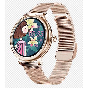 Smart Watch 1.09TFT-LCD Plein Cercle Écran Musique Contrôle Téléphone Informations sur plusieurs modes sportifs Plusieurs langues (ceinture en acier or rose)