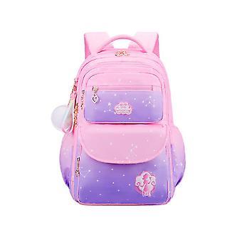Homemiyn Gradient Pink Starry Sky Series Backpack Multifunctional Waterproof Lightweight Backpack School Bag