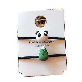 6SET 2kpl /set Uusi Söpö Sarjakuva Mini Panda Elastiset Hiusnauhat Kumi hiukset Köysi Solmio Tytöt Hiukset