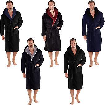 Snuggaroo मेंस सॉफ्ट ऊन लंबी आस्तीन Hooded लाउंज स्नान बागे ड्रेसिंग गाउन