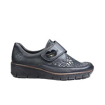 Rieker 537C0-00 Black Leather Womens Rip Tape Shoes