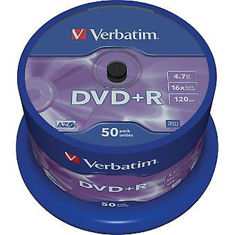 DVD+R verbatim, 16x, 4.7GB/120 min, fuso de 50 pacotes, AZO