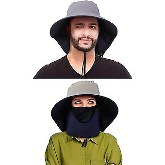 2 Pcs travel sun protection hat gardening fishing cap with neck flap wide brim mesh mz736