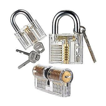3-Pack praktijk slot pick set transparante kristal sleutel hangslot training sloten voor slotenmaker omvatten
