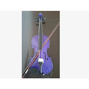 Student Acoustic Violin Full Maple Spruce With Bow Rosin Purple
