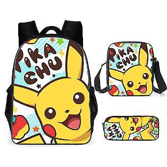 ryggsekk, blyantveske, skulderveske, egnet for barnas rolle Pokemon tredelt dress