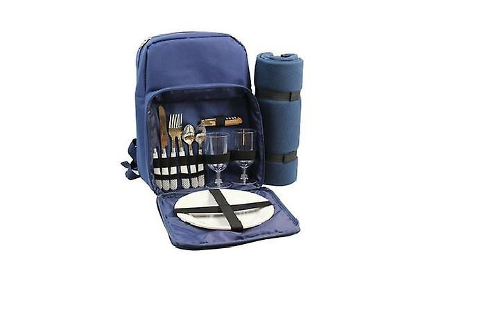 Deluxe 2 Person Picnic Insulated Racksack Including Plates Cutlery Fleece Blanket Blue