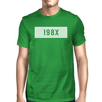 198X Men's Kelly Green Crew Neck T-Shirt Funny Graphic Summer Shirt