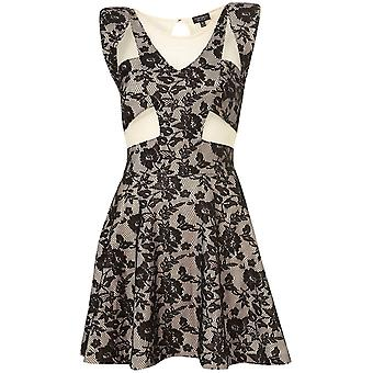 Topshop Black Foiled Lace Skater Dress[10]