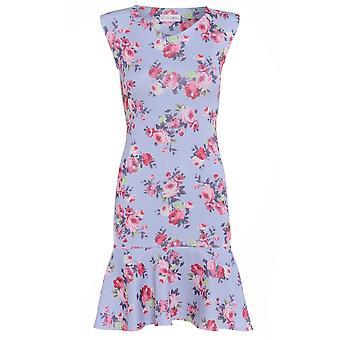 Love2Dress lila Floral Bleistiftkleid mit Schößchen Saum UK Größe 8