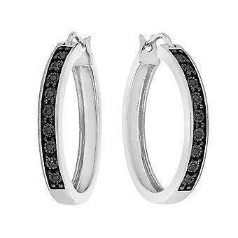 Enhanced Black Diamond Hoop Earrings 1/12 Carat (ctw) in Sterling Silver (1 Inch)