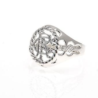 Rangers Silver Plated Crest Ring Medium