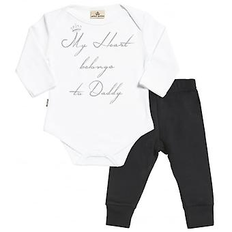 Spoilt Rotten Heart Belongs To Daddy Babygrow & Jersey Trousers Outfit Set