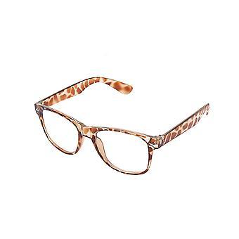 Retro Vintage kleur Unisex Punk Geek Wayfare stijl nul nummer duidelijk Lens glazen Eyewear - Luipaard Print