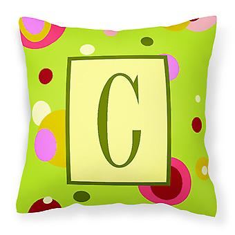 Letter C Initial Monogram - Green Decorative   Canvas Fabric Pillow