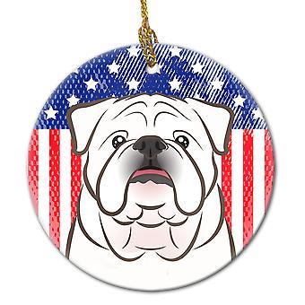 American Flag og hvid engelsk Bulldog keramiske Ornament