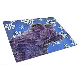Skye Terrier Winter Snowflakes Holiday Glass Cutting Board Large