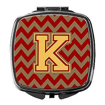 K-kirjain Chevron Garnet ja kulta kompakti peili