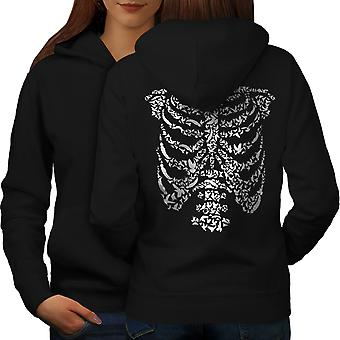 Art Skeleton Bones Skull Women BlackHoodie Back | Wellcoda