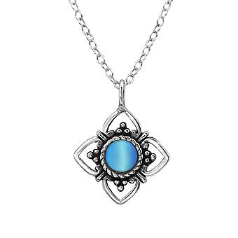 Flower - 925 Sterling Silver Jewelled Necklaces - W30917X