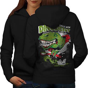 Dinosaurio mujeres BlackHoodie detrás de la sonrisa | Wellcoda
