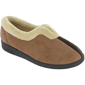 Mirak señoras Jenny resbalón en el esponjoso Collar textil zapatillas marrón