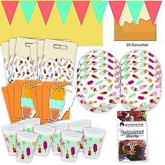 Festa de Verão do gelo gelado conjunto XL 57-teilig para 6 hóspedes gelo festa aniversário decoração festa pacote