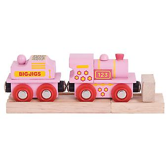 Bigjigs Rail Wooden Pink 123 Engine Carriage Locomotive Railway Track Play Set