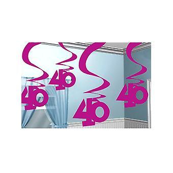 40 Hanging Swirl Decoration Rosa 5er Packung