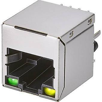Modulaire gemonteerde socket, 1 poort, CAT 5 Socket, verticale verticale aantal pins: 8P8C A20-108-223-110 metaal EDAC A20-108-223-110 1 PC('s)