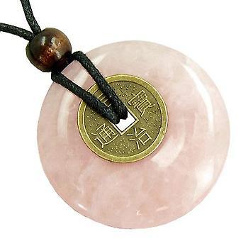 Große Glücksmünze Amulett Halskette aus Rosenquarz Edelstein Donut