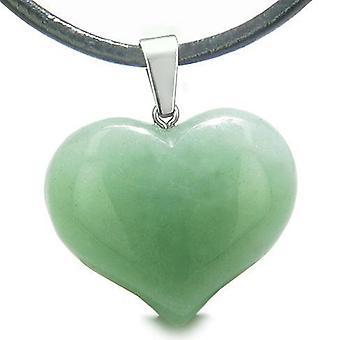 Amulett großen geschwollenen Herz Glücksbringer in grünen Aventurin Edelstein Glück Befugnisse Anhänger Halskette